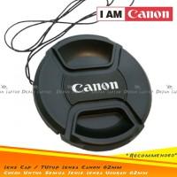 Lens Cap Tutup Penutup Lensa Kamera 62mm Logo Canon Dengan Tali