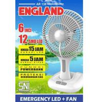 Kipas Angin Portable+Lampu Emergency 6 inch Charge ARASHI England
