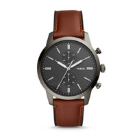 Fossil Jam Tangan Pria Townsman Chronograph Amber Leather FS5522