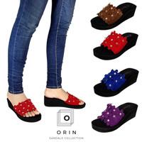 ORIN - Wedges Slop Anggrek Sandal Kokop Bunga Trendy