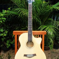 Gitar Akustik Natural Murah Full set Merek Taylor Custom
