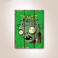 Plants Zombies Poster Kayu Pajangan Dekorasi Dinding Rumah Cafe
