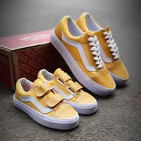 Couple Vans Old Skool Kuning Import / Sepatu Wanita / Sepatu Anak