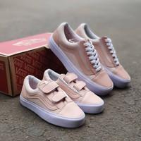 Couple Vans Old Skool Peach Import / Sepatu Wanita / Sepatu Anak