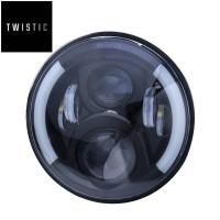 Daymaker 7 inchi Half Ring Angel Eyes Harley Cut Lampu LED Import