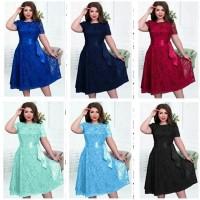 Dress Gaun Pesta Jumbo Cantik Brukat Furing XL