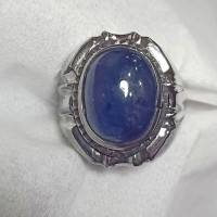 cincin batu akik permata blue safir asli natural