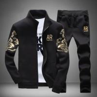 Setelan Training Pria Jaket Kaos Celana Panjang Casual Olahraga
