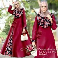 Gamis Sheren Mom Jumbo Maxi Dress Syari Muslimah Big Size Model Casual