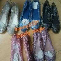 Dijamin murah, habisin stok. sepatu flat jelly Glitter comfort - Abu-abu, 36
