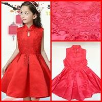 Baju Kostum Anak Merah Dress Gaun Pesta Ultah Imlek Import