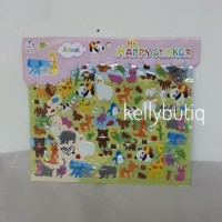Animal 2 Jumbo Emboss Happy Stickers Fancy Koleksi Stiker Mainan Anak
