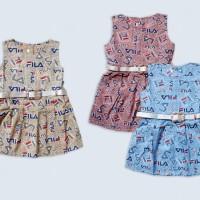 Dress Fila Gesper Anak Perempuan
