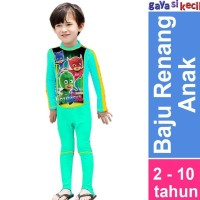 Baju Renang Anak Cowok Laki PJMASK HIjau Keren Lengan Celana Panjang