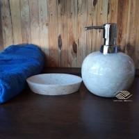 wastafel batu alam marmer tempat sabun cair set