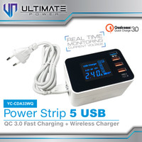Ultimate Power 5 USB Power Strip Wireless + Fast Charging QC 3.0