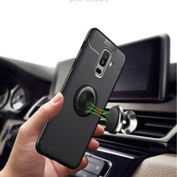 Autofocus Samsung Galaxy A6 A6 PLUS Softcase Magnetic Ring Case Cover