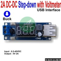 DC Stepdown with Voltmeter 6.5-40V to USB 5V/2A Charger