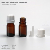 BOTOL KACA AMBER 5 ML/BOTOL KACA DROPPER 5 ml + FILLER PUTIH