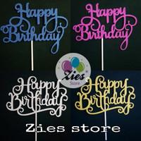 Cake topper happy birthday / tusukan kue HBD glitar karton sambung