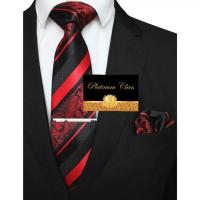 dasi merah terang batik salur import pria set platinum class