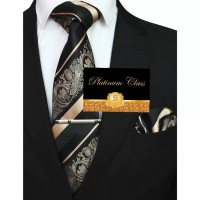 dasi gold champagne batik salur import pria set platinum class