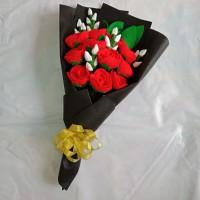 Buket Mawar Flanel untuk hadiah wisuda, valentine, ultah, anniv, dll
