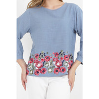 3/4 Puff S/ Emb Blouse