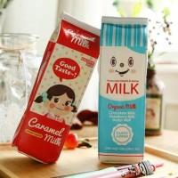 Kotak Pensil Bentuk Kotak Susu / Milk Tempat Alat Tulis Tempat Pensil