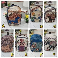RANSEL IMPORT THAILAND BACKAPACK FASHION GAJAH OWL - RANSEL KANVAS