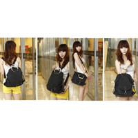 Tas wanita kanvas denim 3 way ransel backpack selempang jinjing F341