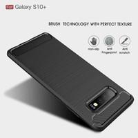Ipaky Carbon Fiber Soft Case Samsung Galaxy S10 S10e Note 8 9 10 Plus - Hitam, S10 Plus