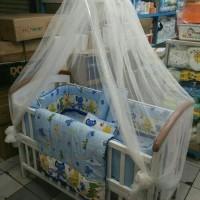 Tempat Tidur Baby Box Kayu Asli Ranjang Anak Lengkap Bemper Set Kasur