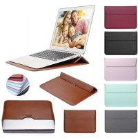 pu leather mail sleeve bag case stand for laptop/ macbook 15 inch