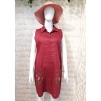 Dress Wanita Linen Premium All Size Bordir Manual TM-DR-23