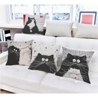 ( New Trend ) Sarung Bantal Sofa Bentuk Kotak Desain Kartun Kucing Ba