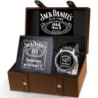 ( New Trend ) Jack Daniels Jam Tangan Quartz Analog Strap Kulit untuk