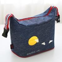 ( New Trend ) Tas Bekal Lunch Bag Bahan Denim Motif Kartun dengan Res