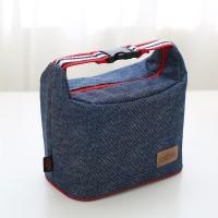 ( New Trend ) Tas Bekal Lunch Bag Bahan Denim dengan Resleting