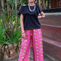 Celana Batik Motif Bunga dan Buah Kremunting Pink (Cetak)
