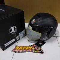 Helm Half Face AGV Orbyt Dobel Visor Matt Black SNI Size M, L, XL