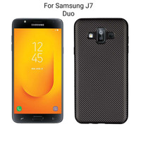 Samsung Galaxy J7 Duo Carbon Slim Silicone Softcase - Hitam