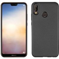 Huawei P20 Lite Carbon Slim Silicone Softcase - Hitam