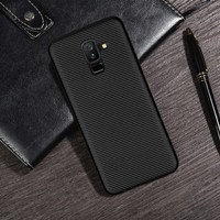 Samsung Galaxy A6 Plus (2018) Carbon Slim Silicone Softcase - Hitam