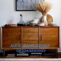 lemari meja drawer bufet tv cabinet minimalis retro jati jepara