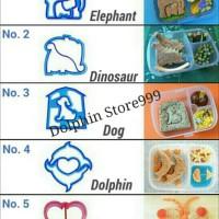 Cetakan Roti Tawar Sandwich Elephant,Dinosaur,Dog,Dolphin,Butterfly