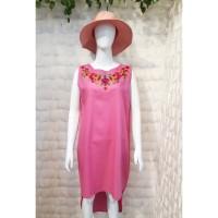 Dress Wanita Casual Linen Premium Dengan Bordir Terbaru TM-DR-BR-12