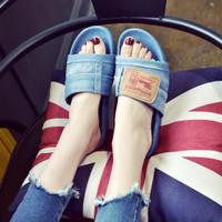 sandal teplek jeans