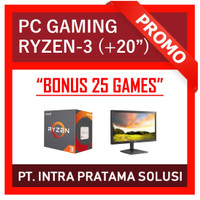 """PC Gaming Lengkap Ryzen-3 2200G + LED 20"""" (Siap Pakai + Bonus Games)"""