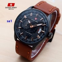 swis army jam tangan pria kulit